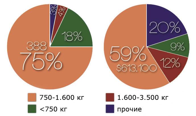 Доли разных типов караванов в Украине
